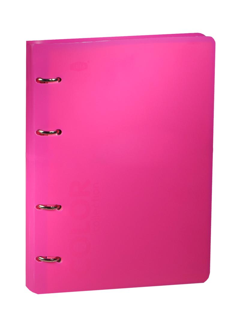 "Тетрадь 120л кл. ""NEON PINK"" на кольцах, смен.блок., разделители, пластик.обл., ярко-розовая, 83327, stila"