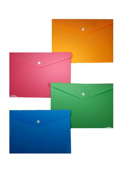 Папка-конверт В5 на кнопке, пластик 0,35мм, ассорти, Sworld