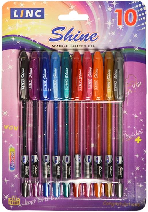 """Ручки гелевые металлик """"Shine"""", 10 цветов"""