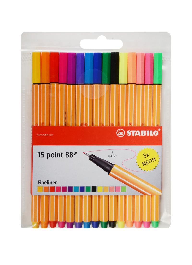 Ручки капиллярные 15цв. (10+5неон),  STABILO point