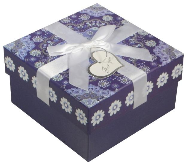 """Коробка подарочная """"Орнамент"""" синяя, 11*11*6,5см"""