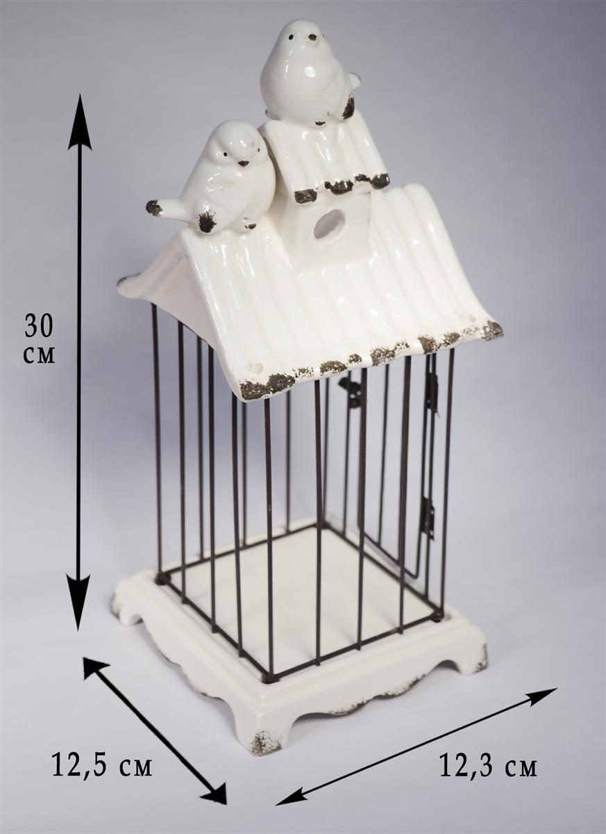 Подсвечник декоративный белый с птичкой  (12х31см) (керамика) (70001)