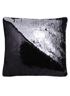 Подушка с пайетками черная с серебром (37х37)