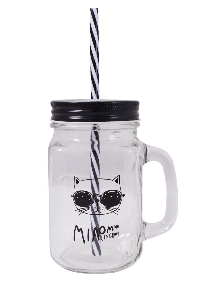 Баночка с ручкой и крышкой для коктейлей Кот в очках (стекло) (450мл)