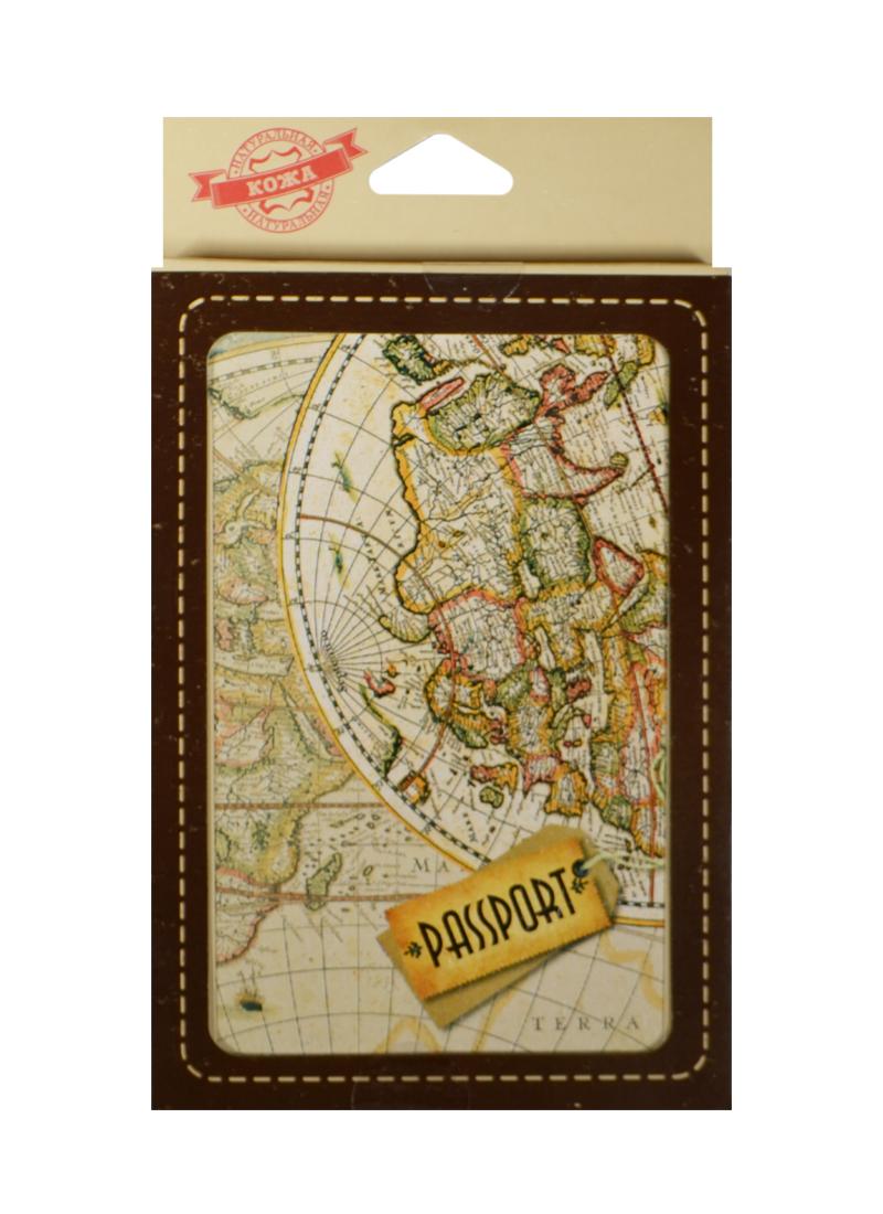 Обложка для паспорта кожа Карта (20075)