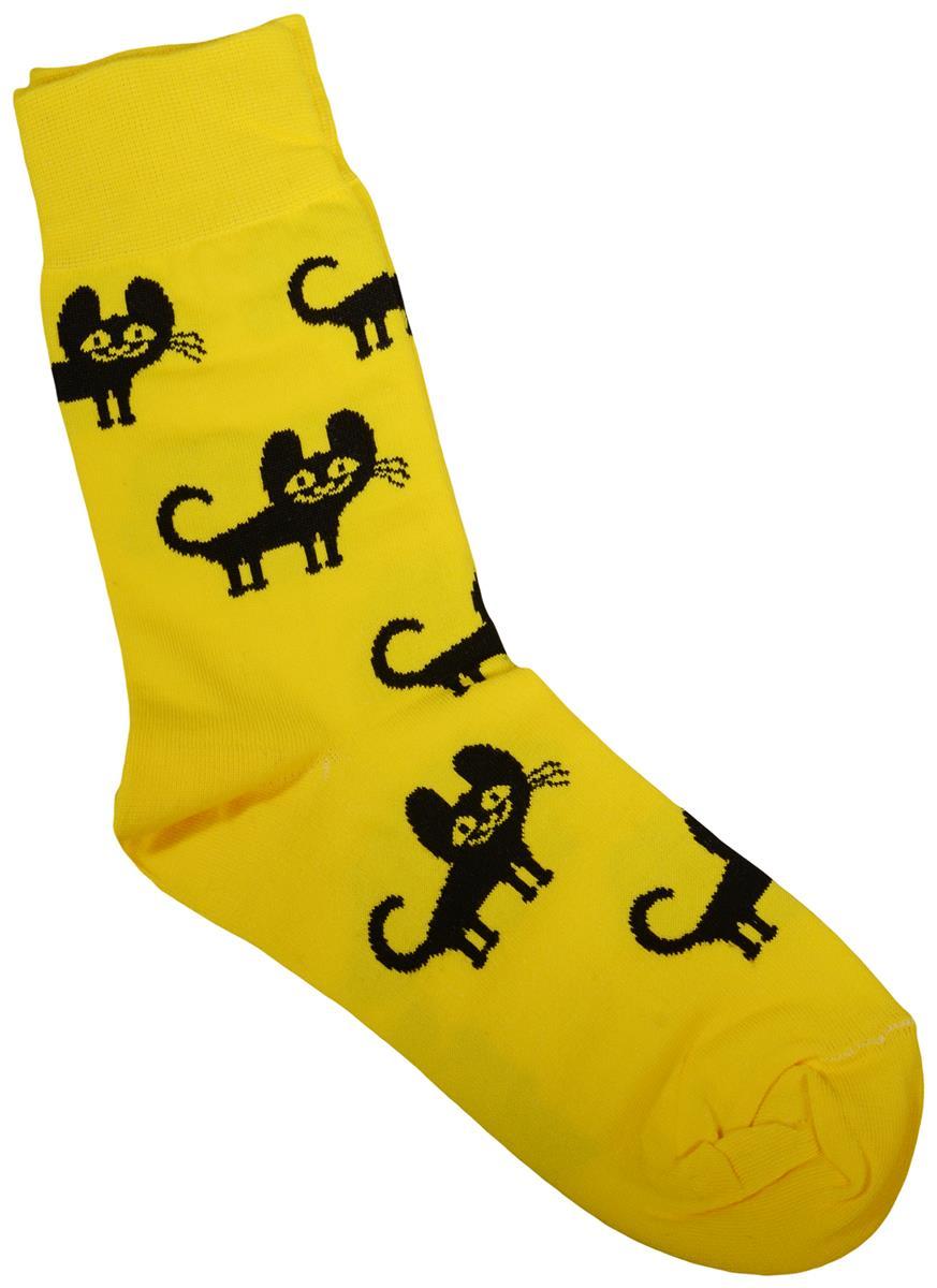 Дизайнерские носки Котята желтые (размер 39-41)