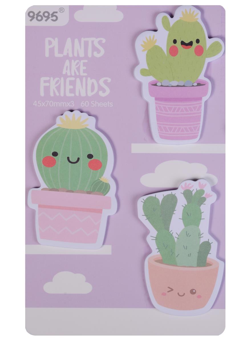 "Блок бумаги самоклеящийся ""Plants are friends"", 3 шт/упаковка"