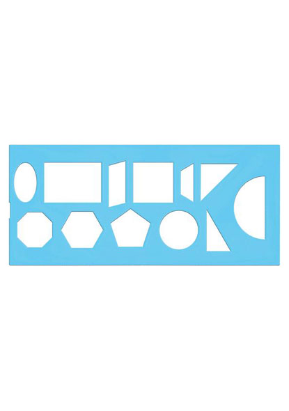 Трафарет геометрических фигур(12 элем.) пласт.,флюор.,Стамм