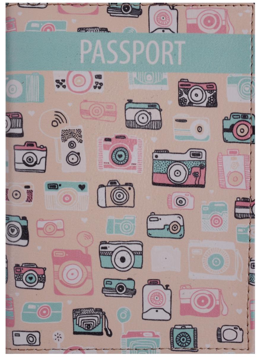 Обложка для паспорта Фотоаппараты на розовом фоне (кожа) (ПВХ бокс)
