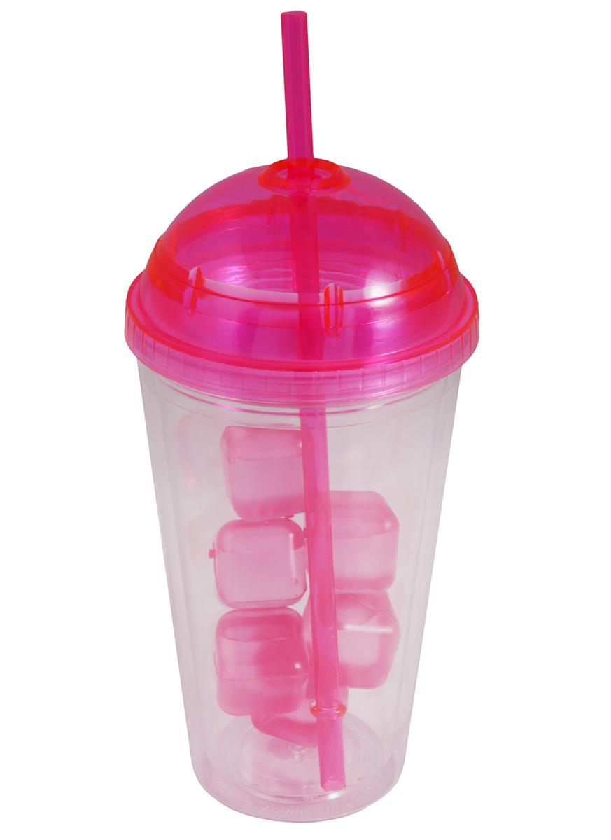 Стакан с пластмассовыми кубиками льда (розовый) (400мл)