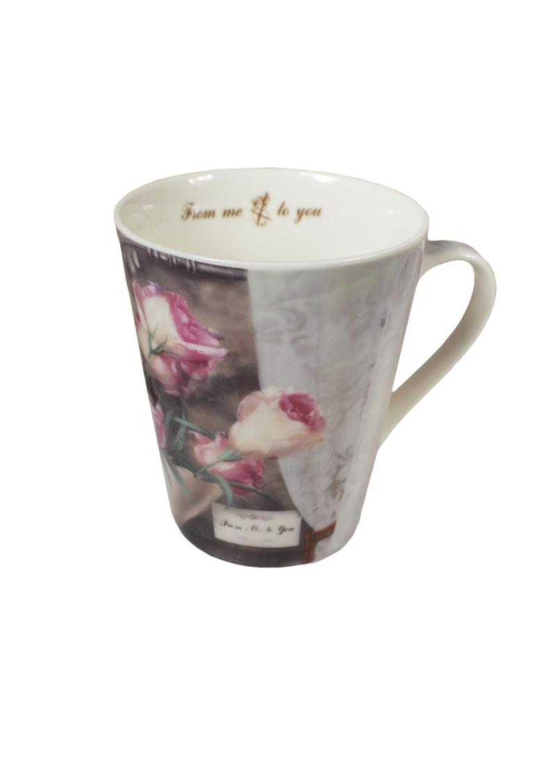 Кружка Винтажные Розы (325 мл) (8530 VR-M) (фарфор) в подарочой коробке GiftLand (Виктори)