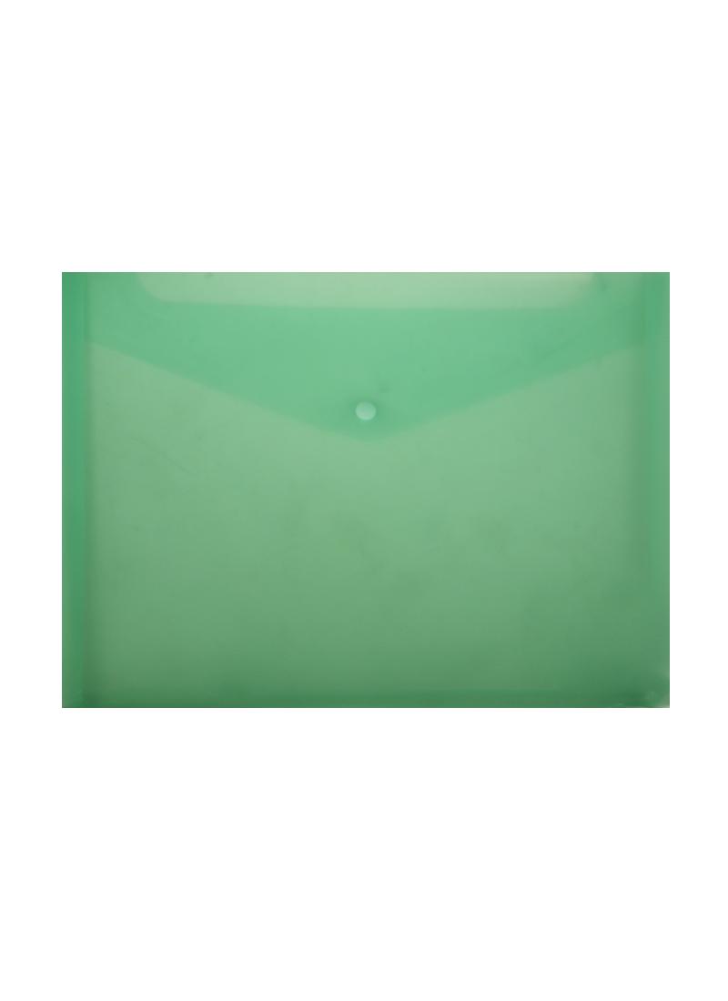 Папка-конверт А4 на кнопке с расширением, пластик 0,18мм, прозрачный, ассорти, Бюрократ